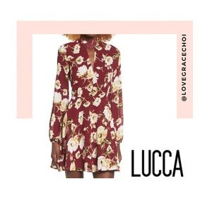 Lucca | Wine Floral Meadow Skater Dress